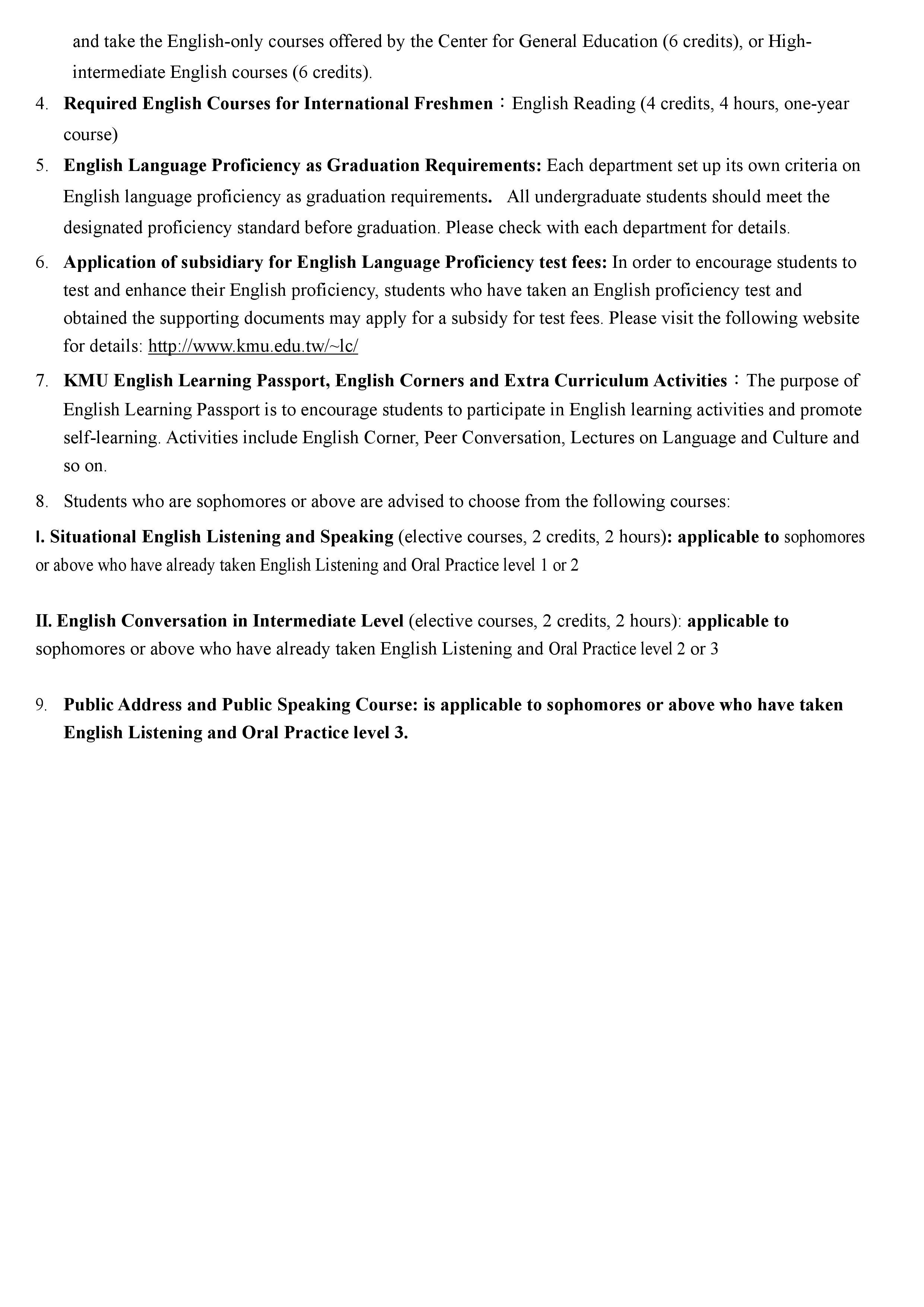 KMU English Proficiency Requirements and English Programs for Freshmen 108 04